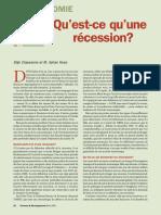 Quest ce que la récession
