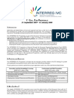 INTERREG IVC 1st Call For Proposals