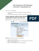 F53 Imposto retido na fonte no SAP durante fatura do fornecedor e lançamento de pagamento