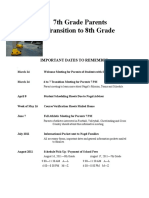 Transition to 8th Grade Overview