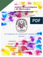 Procedimientos de Legalizacion Contable en El Salvador
