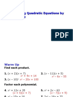 9-5 Solving Quadratic Equations by Factoring