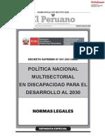 Decreto Supremo N° 007-2021-MIMP apruebaan la Política Nacional Multisectorial en Discapacidad para el Desarrollo al 2030.pdf