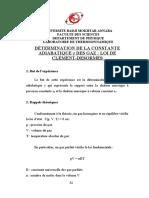 1 Détermination de la constante adiabatique caprès Clément