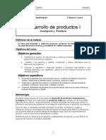 DESARROLLO DE PRODUCTOS l, INVESTIGACIN Y PROTOTIPOS