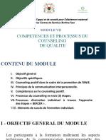 Module 7. COMPETENCES ET PROCESSUS DU COUNSELLING DE QUALITE