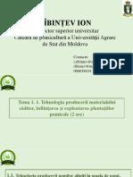 1- Temă. Tehnologia Producerii Materialului Săditor Şi Înfiinţării Plantaţiilor Pomicole