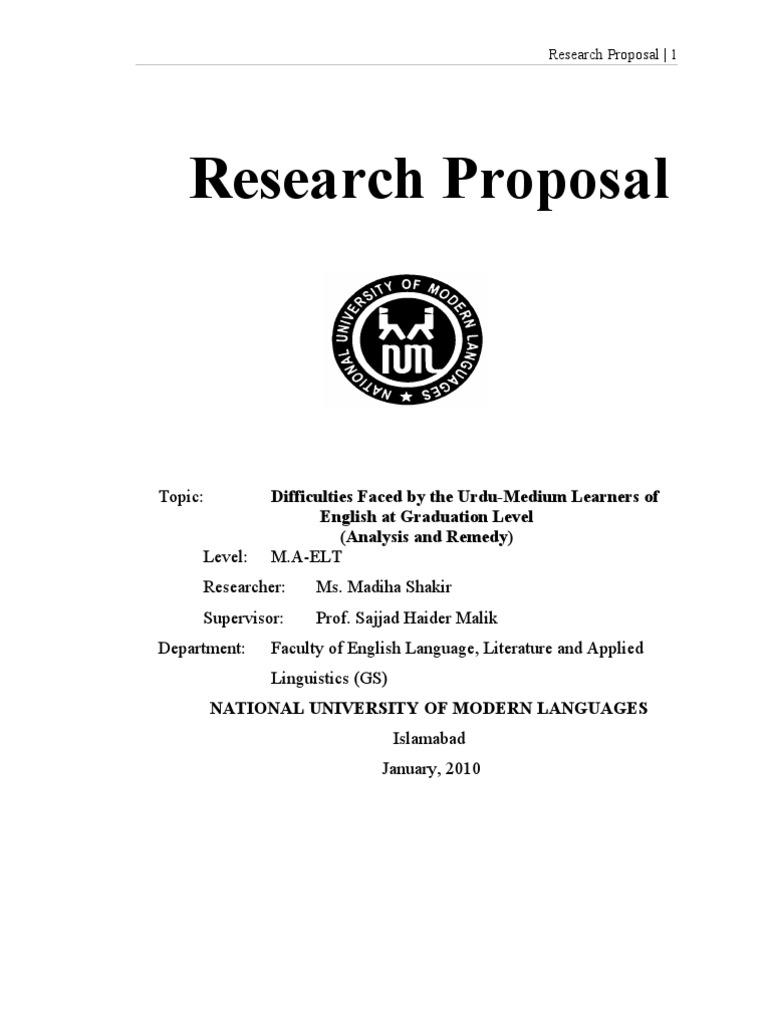 research proposal | Second Language | English Language