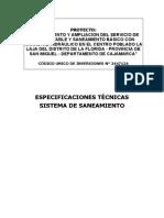 10.3. ESPECIFICACIONES TECNICAS SIST. DE SANEAMIENTO
