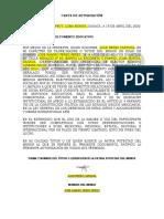 CARTA DE AUTORIZACION MENOR DE EDAD