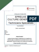 Culture Generale Techniciens Specialises