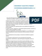 POLÍTICA DE SEGURIDAD Y SALUD EN EL TRABAJO 1705