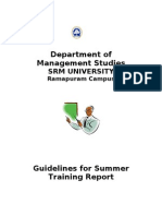 FORMAT FOR SUMMER TRAINING REPORT