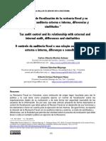 El control de fiscalización de la revisoría fiscal y su relación con la auditoría externa e interna, diferencias y similitudes