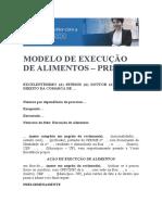 MODELO DE EXECUÇÃO DE ALIMENTOS – PRISÃO