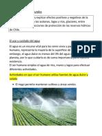 Guía de Ciencias Naturales uso y cuidado del agua