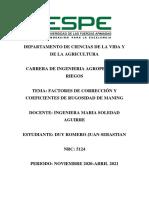 Duy Sebastian P1 Factores de correccion de velocidad y Coeficientes de rugosidad de Manning