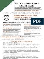 Appel à participer au 19 ème Cercle de  Silence de Saint-Maur