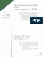 theorie de frohlich-pression critique d'une fondation superficielle