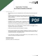 Exam Timetable April 2011