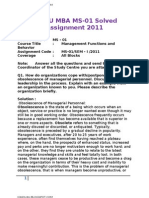 IGNOU MBA MS-01 Solved Assignments 2011