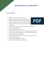 NORMAS DE SEGURIDAD  y materiales de laboratorio