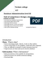 Design database Main Module simplified tvet