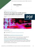 Brasil Vira Uma Alegoria Do Suicídio Geral Em Romances Apocalípticos Da Pandemia - 21-05-2021 - Ilustrada - Folha