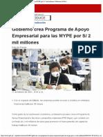 Gobierno crea Programa de Apoyo Empresarial para las MYPE por  2 mil millones - Gobierno del Perú