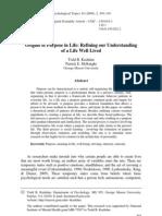 Kashdan & McKnight (2009) Origins of purpose in life