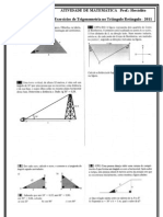 Trigonometria no Triângulo Retângulo Lista 2 - 2011