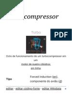 Turbocompressor – Wikipédia, A Enciclopédia Livre