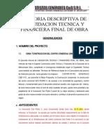 1.MEMORIA DESCRIPTIVA DE LIQUIDACION FINAL DE OBRA - SAN PEDRO II