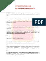 Prova de Espanhol UFRGS 2020