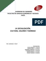 Informe sobre Socialización Cultura normas y valores
