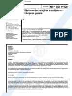 NBR ISO 14020 2002 Rótulos e declarações ambientais - Princípios gerais