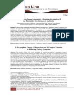 L-TRIPTOFANO, ÔMEGA 3, MAGNÉSIO E VITAMINAS DO COMPLEXO B NA DIMINUIÇÃO DOS SINTOMAS DE ANSIEDADE