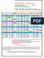 March 2011 Time Table