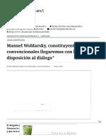 """Manuel Woldarsky, constituyente_ """"Los 155 convencionales llegaremos con la mejor disposición al diálogo"""" - El Mostrador"""