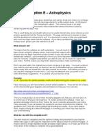 Option E - Astrophysics Self Study 10