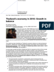 Thailands economy in 2010 Growth in balance
