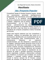 Proyecto Popular - Manifiesto - Marzo 19 de 2011