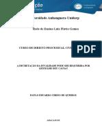 Ad 1 - Nulidade Processual
