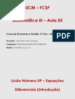 AULA 6 - EQUACOES DIFENCIAS (INTRODUCAO)