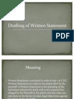 Drafting of Written Statement(Ppt by Adhiraj Singh and Abhishek Meena)