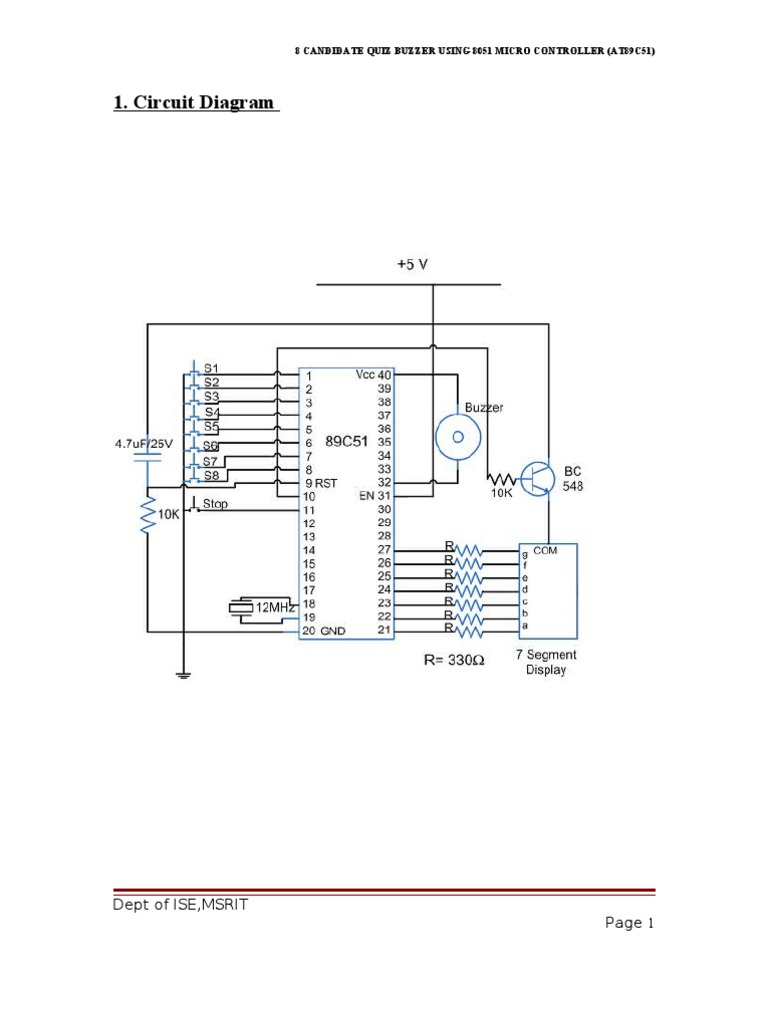 1. Circuit Diagram: Dept of ISE,MSRIT