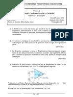 GUIÃO DE CORREÇÃO DE TESTE  1.  Feito no dia 27.08.2018. ISUTC
