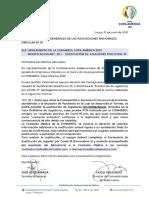 La notificación oficial de la Conmebol