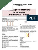 Avaliação Bimestral Biologia - 3º ano - 1º bim [modelo escola]