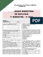 Avaliação Bimestral Biologia - 2º ano - 1º bim [modelo escola]